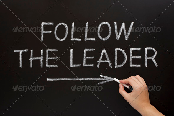 Follow The Leader On Blackboard - Stock Photo - Images