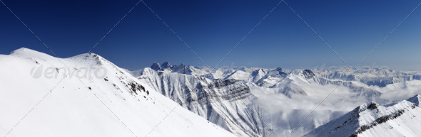 Panorama of winter mountains. Caucasus Mountains, Georgia - Stock Photo - Images