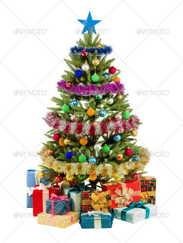 Christmas fir tree with colorful lights close up - Stock Photo - Images