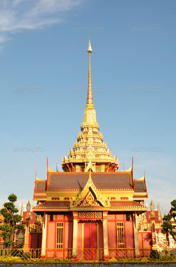 Thai royal funeral and Temple in bangkok thailand - Stock Photo - Images