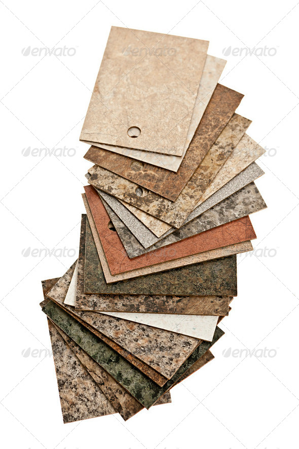 Countertop samples on white - Stock Photo - Images