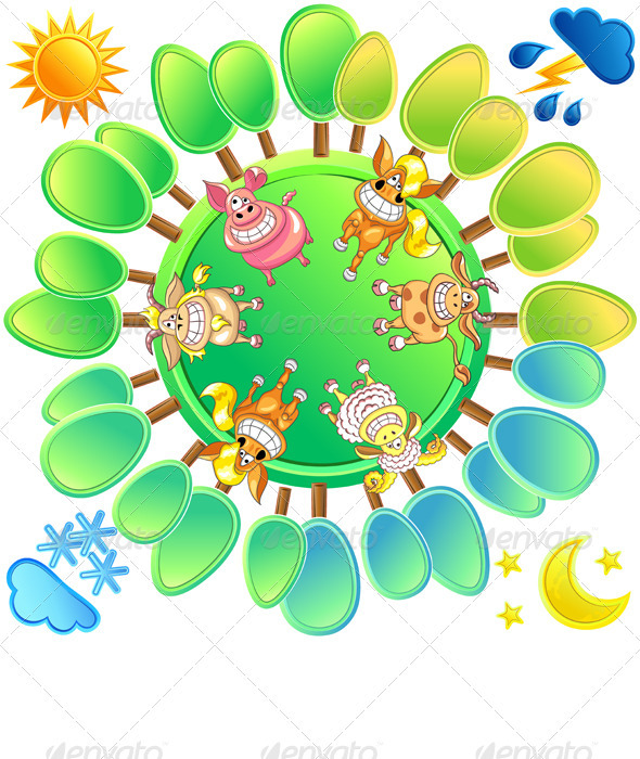 Vector Concept of a Planet in Four Seasons - Animals Characters