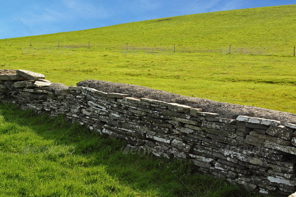 Wall between green pastures - Stock Photo - Images