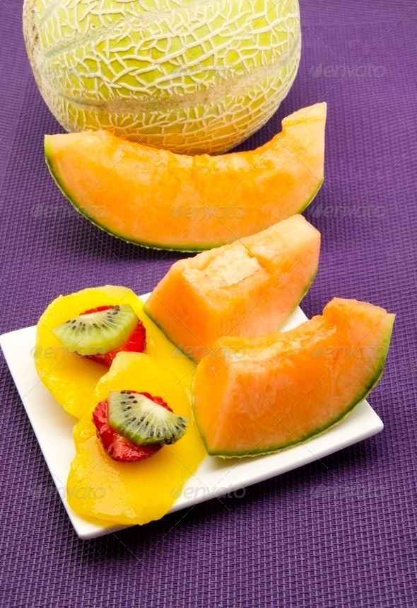 Melon, mango, strawberry and kiwi - Stock Photo - Images