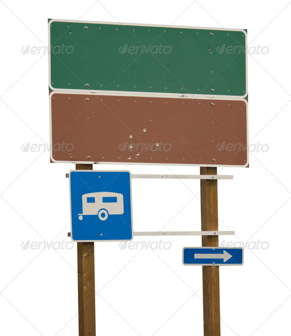 Blank green and brown sign with trailer blue - Stock Photo - Images
