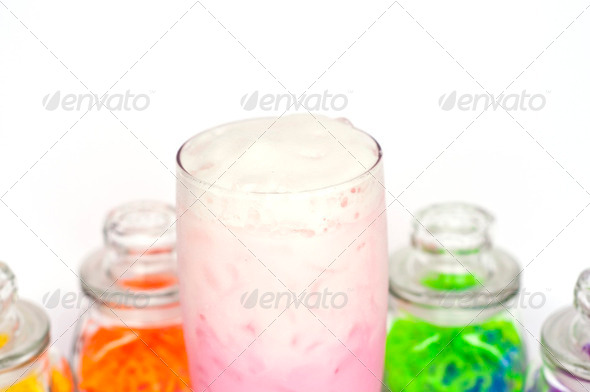 Strawberry milkshake. - Stock Photo - Images