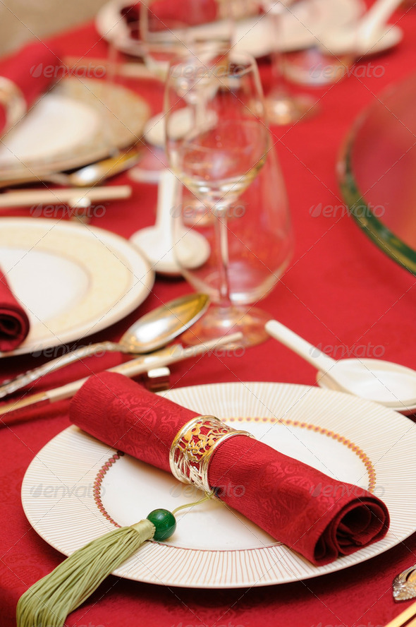 Chinese wedding table set - Stock Photo - Images