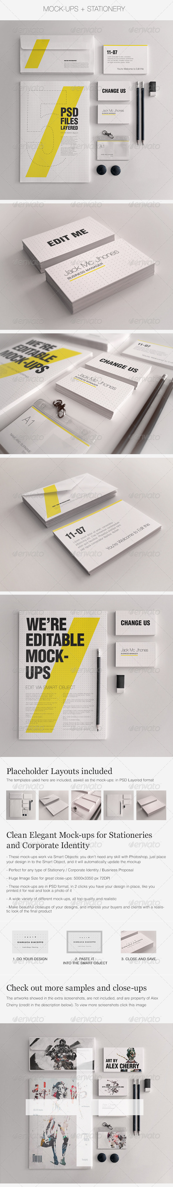 Realistic Stationery Mockups Set 1- Corporate ID - Stationery Print