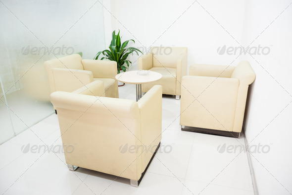 modern interior :simple small reception room - Stock Photo - Images