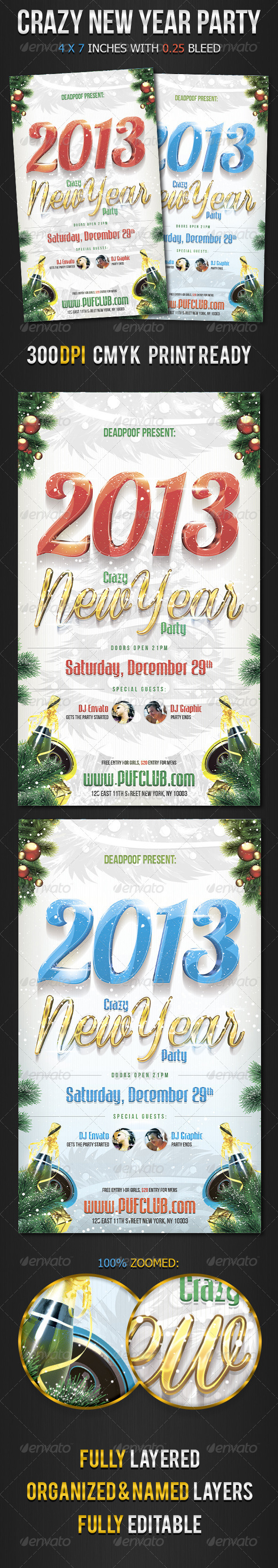 GraphicRiver Crazy New Year Party Flyer 3358142