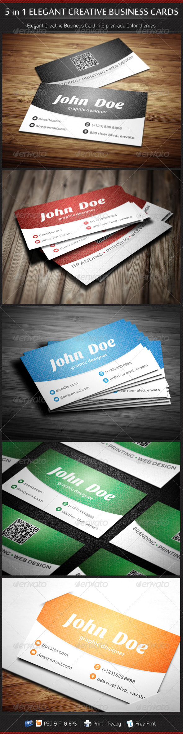 GraphicRiver 5 in 1 Creative Elegant Business Card Template 3336270