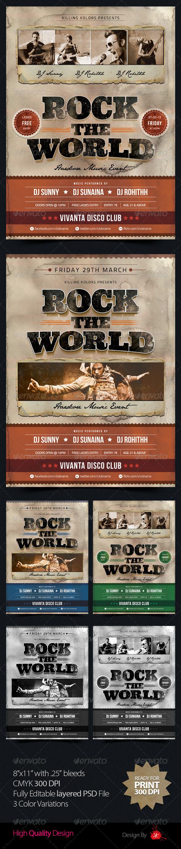 GraphicRiver Rock the World Retro Flyer 3358691