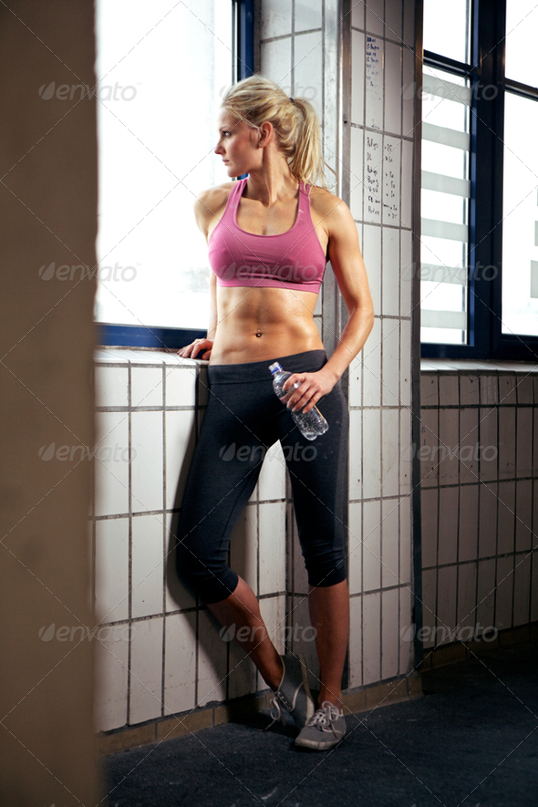 Portrait of Sexy Fitness Woman in Gym - Stock Photo - Images