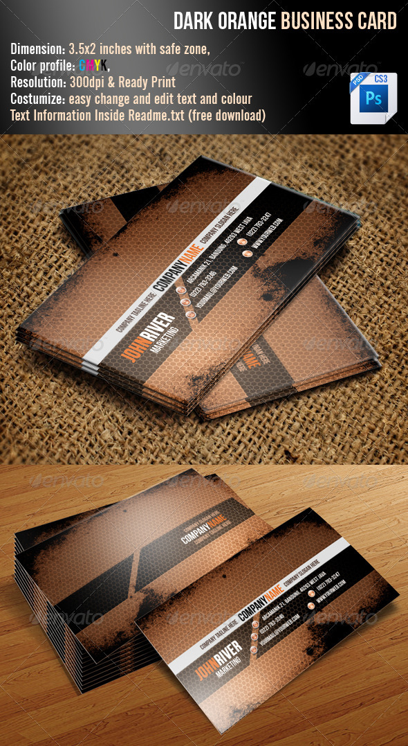 Dark Orange Grunge Business Card - Grunge Business Cards