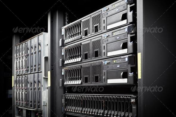 Server Rack hard disks - Stock Photo - Images