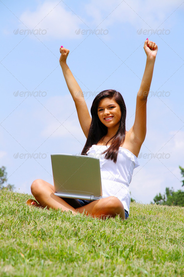Girl on Laptop - Stock Photo - Images