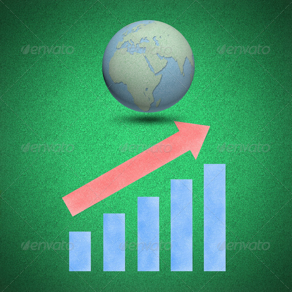 Arrow graph increase globes concept background - Stock Photo - Images