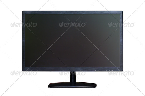 wide screen LED monitor isolated with clipping path - Stock Photo - Images