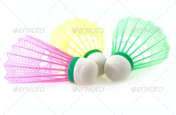 Shuttlecock for Badminton game different color on white background - Stock Photo - Images