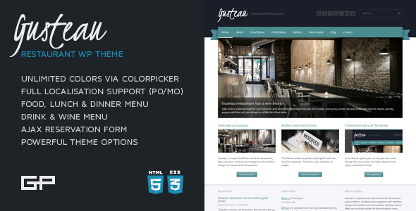 Gusteau: Restaurant WordPress Theme - Restaurants & Cafes Entertainment