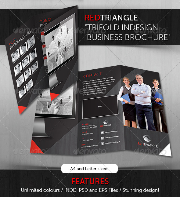 GraphicRiver RedTriangle Trifold Indesign Business Brochure 3336639