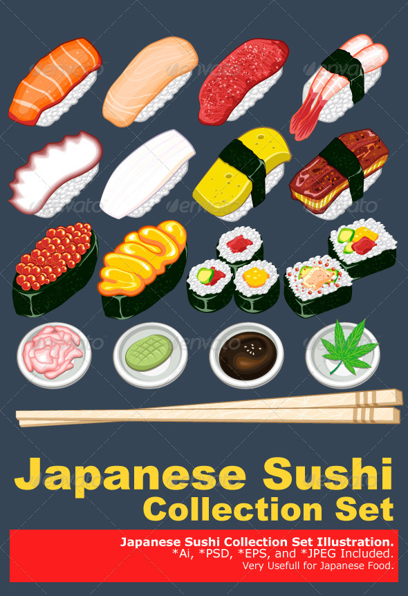 GraphicRiver Japanese Sushi Collection Set 3359668