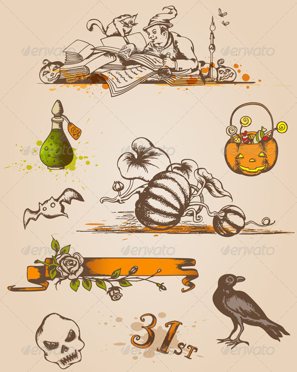 GraphicRiver Halloween Design Elements 3359895
