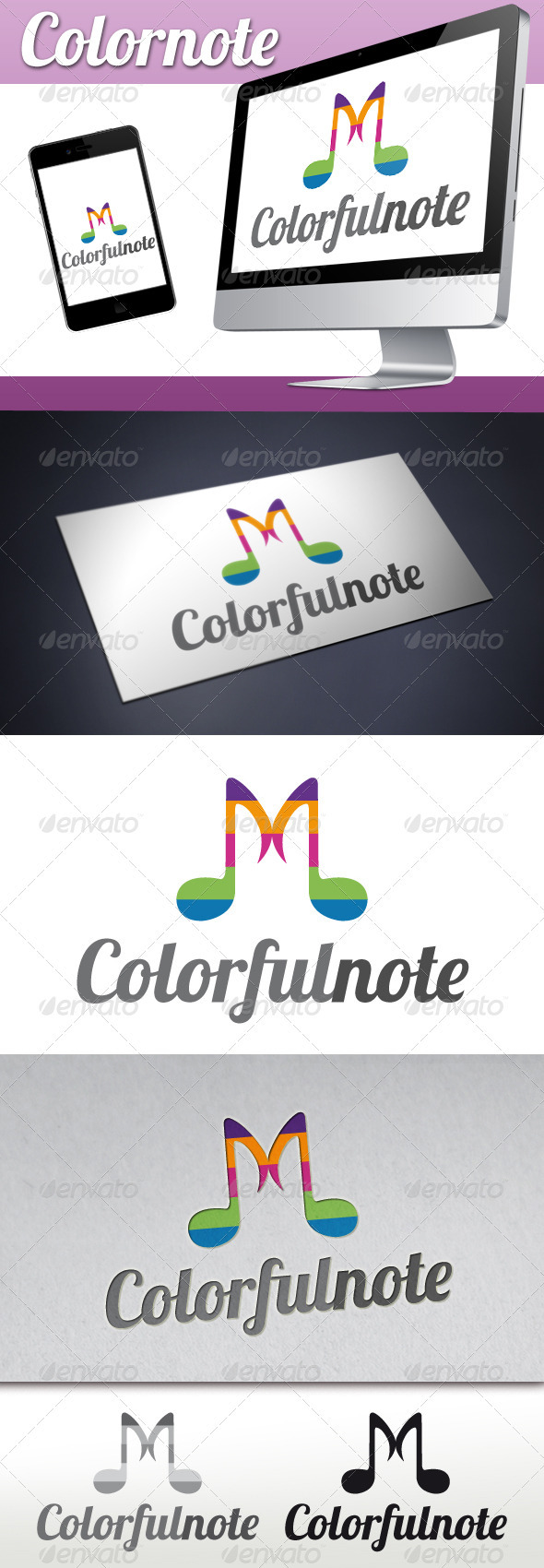 GraphicRiver Music Colorful Notes Logo 3357619