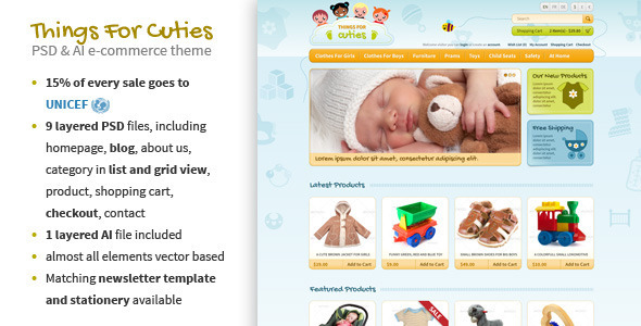 ThemeForest Things for Cuties E-Commerce Baby Shop Template 3201248