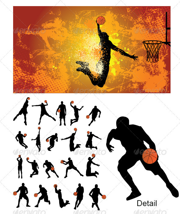 GraphicRiver Basketball Player Silhouette 3360662