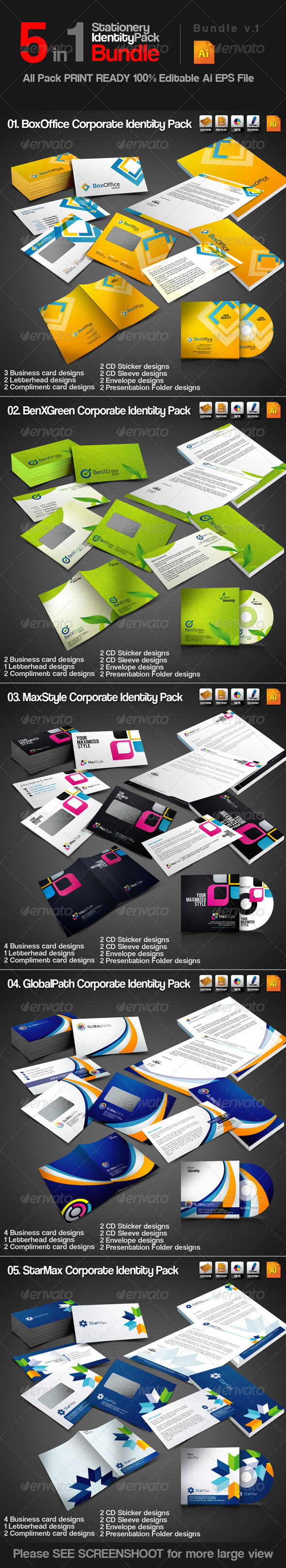 GraphicRiver 5 in 1 Stationery ID Pack Bundle v1 3361001