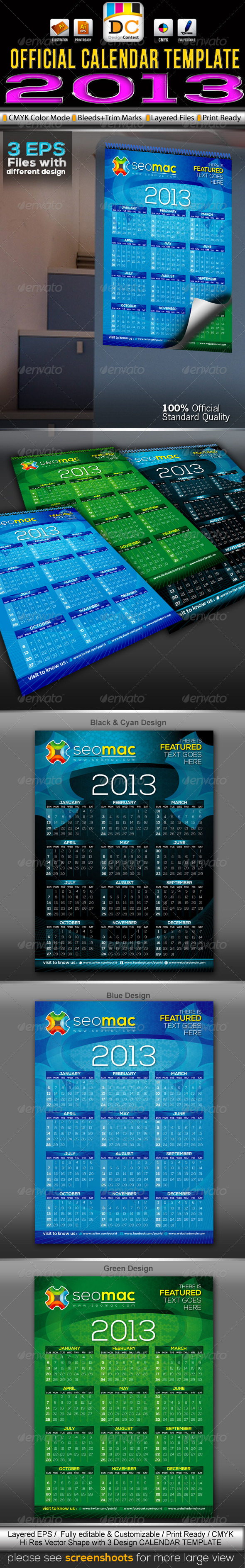 GraphicRiver SeoMac 2013 Official Calendar Templates 3361063