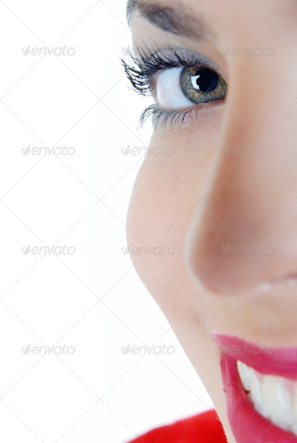 Smiling half face - Stock Photo - Images