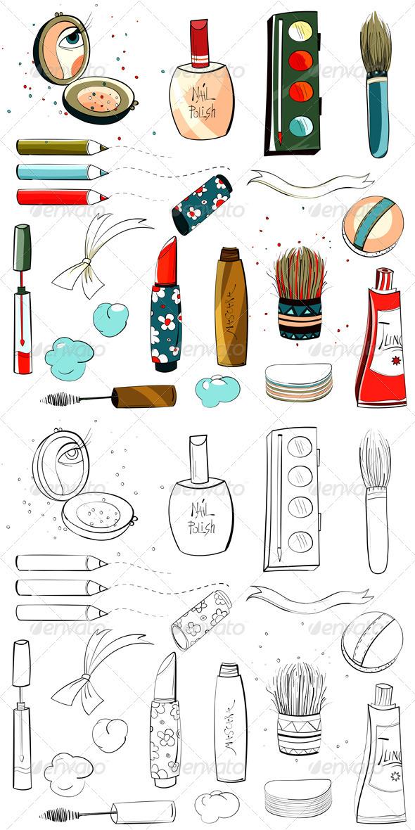 GraphicRiver Makeup Set Sketch Drawing 3361235
