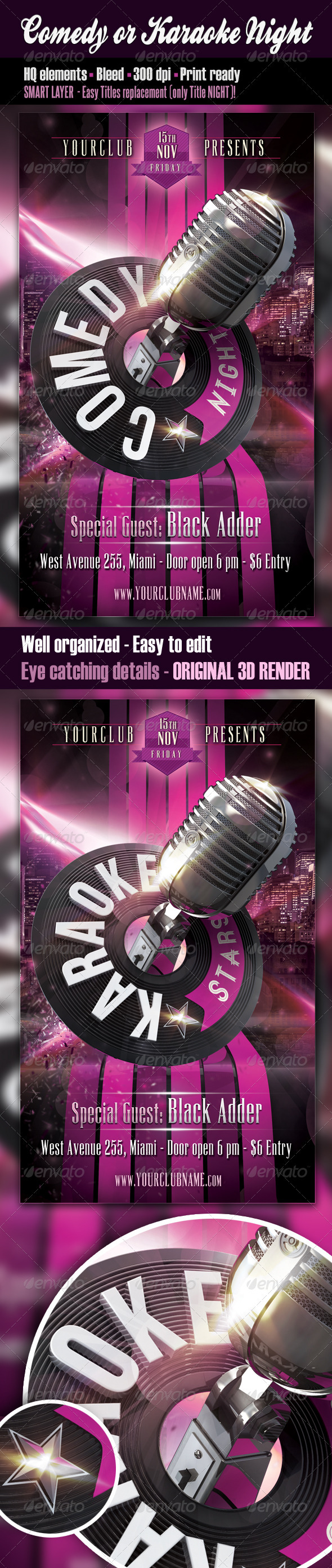 GraphicRiver Comedy or Karaoke Night Flyer 3361345