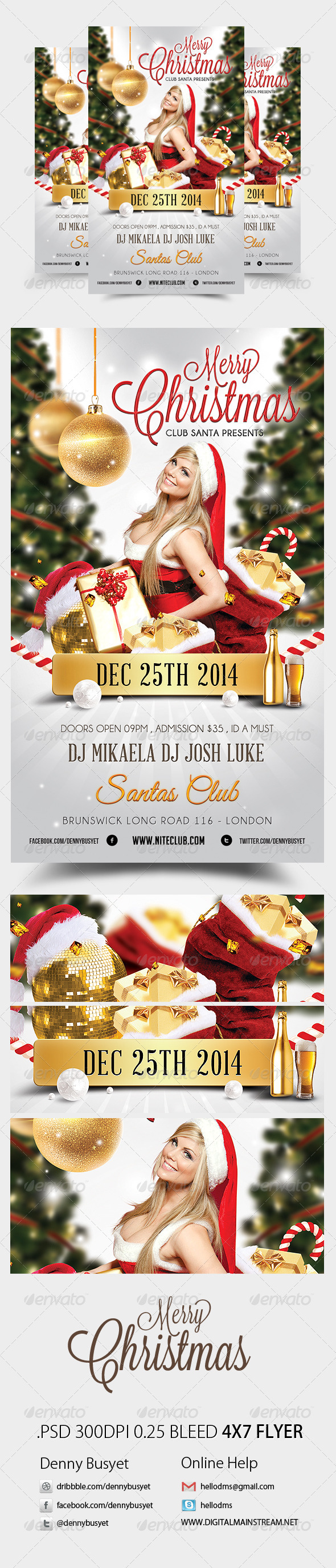 Merry Christmas Nightclub Psd Flyer Template - Holidays Events