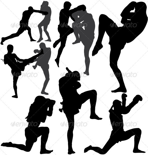 GraphicRiver Muay Thai Thai Boxing vector silhouettes 3361498