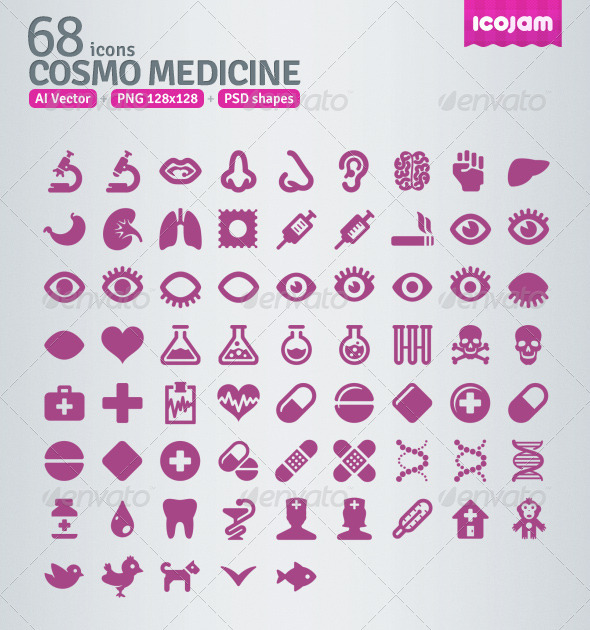 GraphicRiver 68 AI and PSD Medicine Icons 3363112