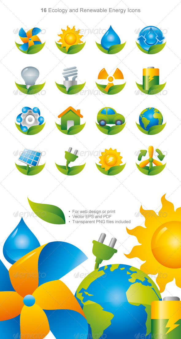GraphicRiver Shiny Green Energy Eco Icons 3353729