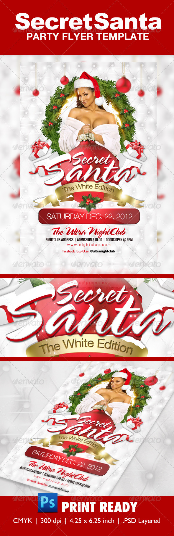 GraphicRiver Secret Santa White Edition Flyer Template 3363313