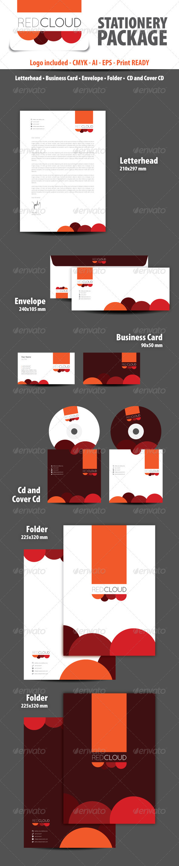 GraphicRiver Red Cloud Stationery Package 3363734