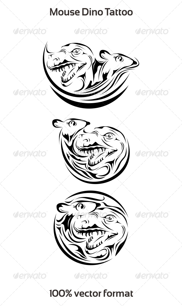 Mouse Dino Tattoo - Tattoos Vectors
