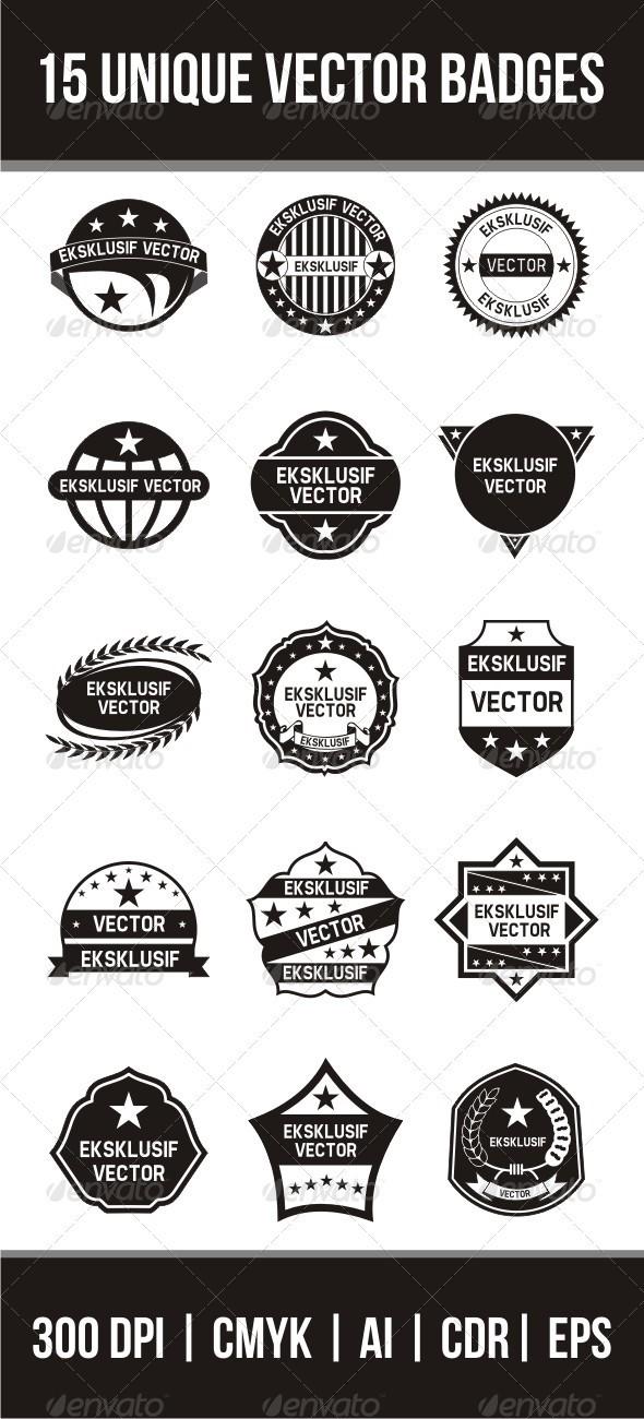 15 Unique Vector Badges - Retro Technology