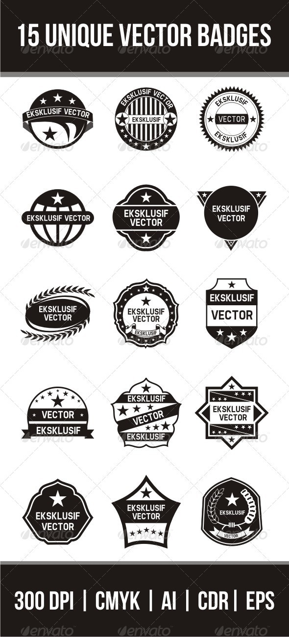 GraphicRiver 15 Unique Vector Badges 3342419