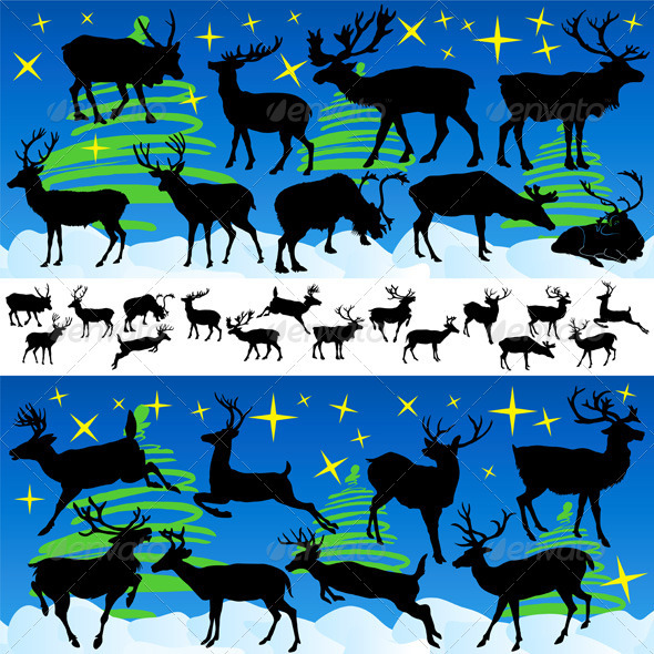 GraphicRiver Reindeer Christmas Silhouettes and Isolated on Whi 3365264