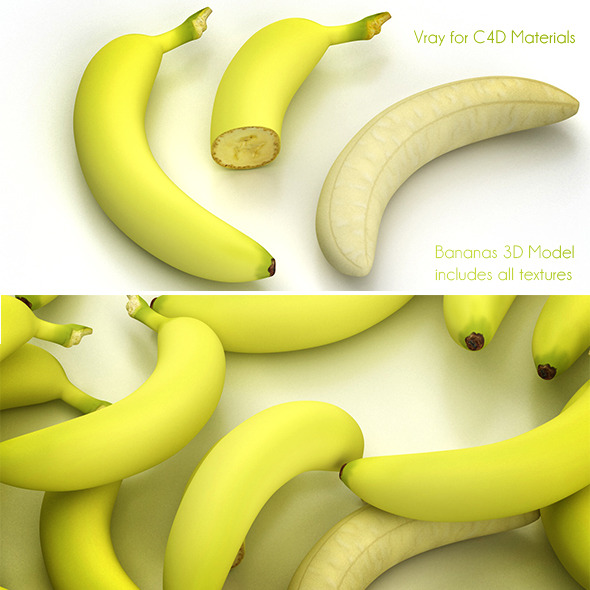 3DOcean Banana full and half without paring 3365319