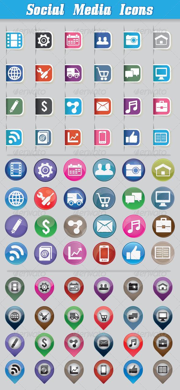 Set Social Media Icons - Media Icons