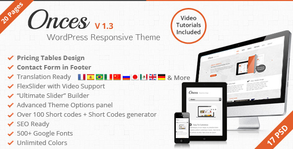 ThemeForest Onces Corporate WordPress Responsive Theme 3102233