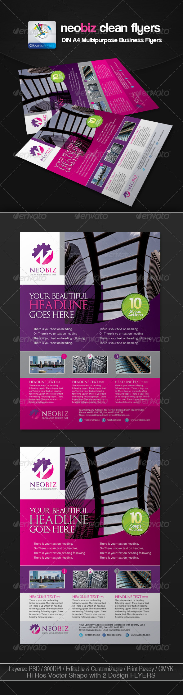 NeoBiz Clean Business Flyer/Ads - Corporate Flyers