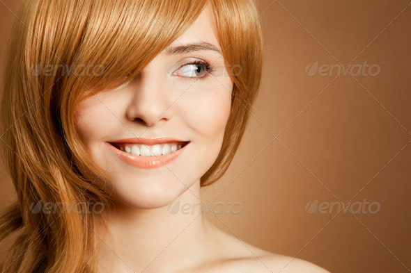 Beautiful Smiling Woman Portrait - Stock Photo - Images